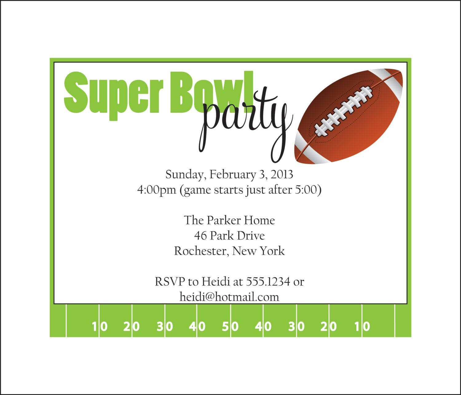 Super bowl party invitation set of 10 by simplystampedinvites for Super bowl party invitation template