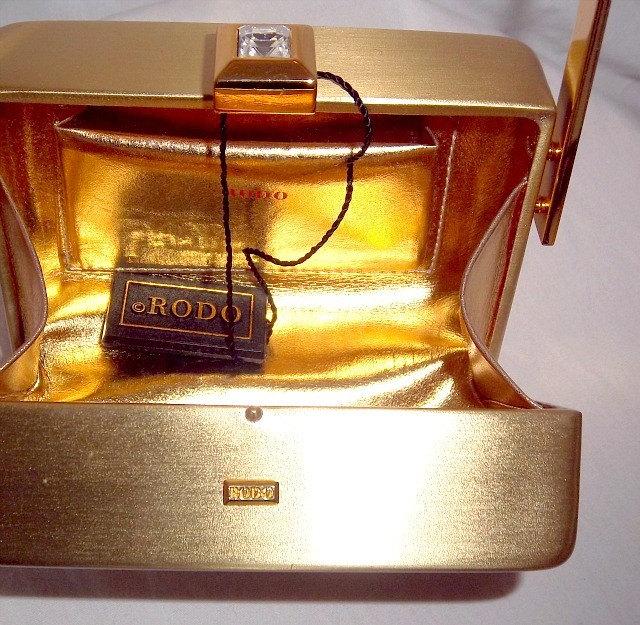 RODO Italy Brushed Gold Metal Swarovski Crystal Mini Box Evening Bag Purse