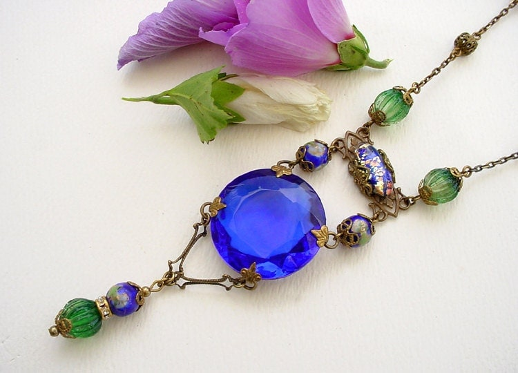 Sapphire Glass Necklace Brass Filigree by Katofmanycolors on Etsy from etsy.com