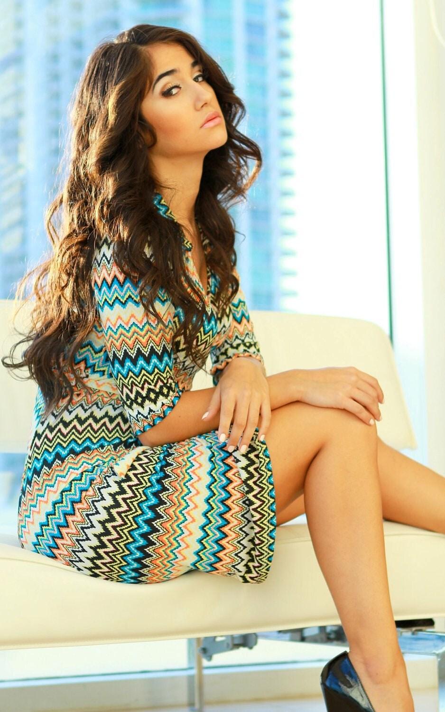Chevron print wrap dress women women's clothing vintage inspired