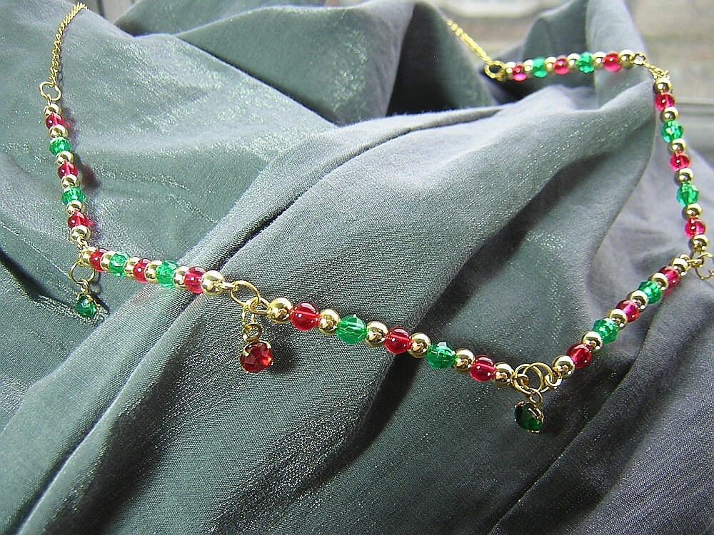 Gold, Red and Green Necklace with Small Gem Dangles N-00274
