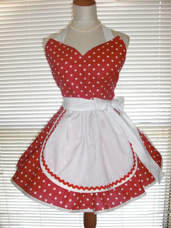 Plus Size Retro Cherry Red And White Dots French Maid Apron Extra Wide