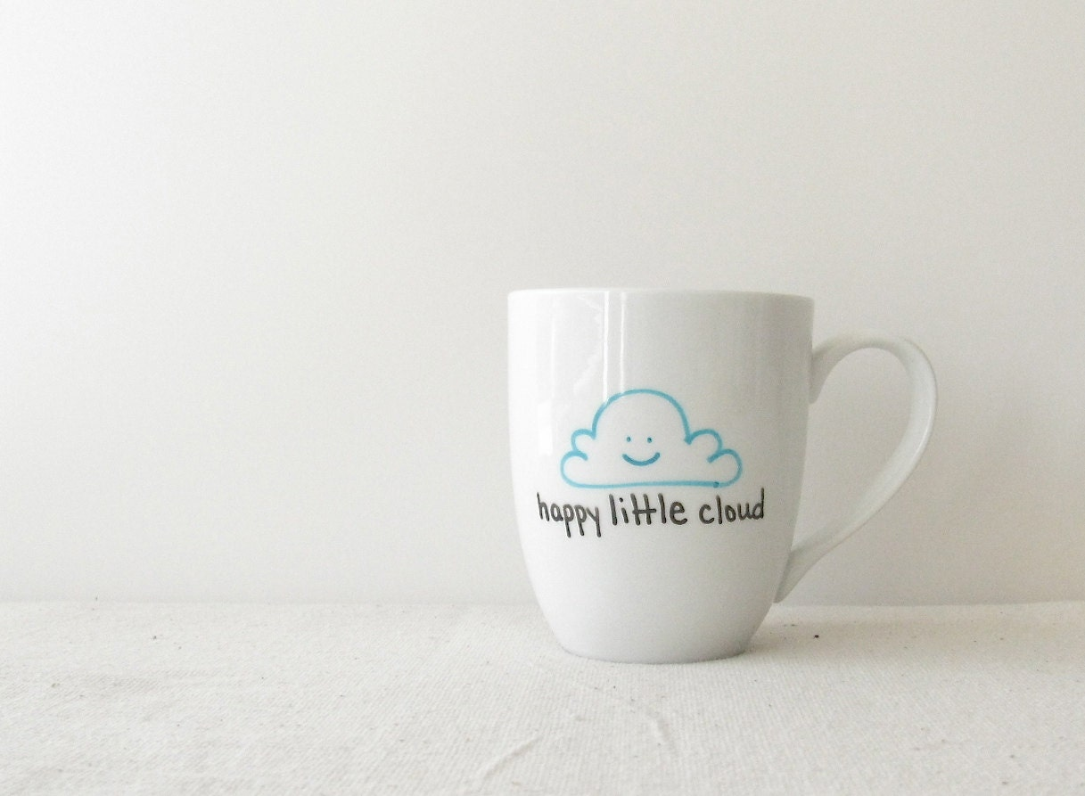 "Cloud Mug - Bob Ross inspired Cloud Coffee Cup - ""Happy Little Cloud"" with Turquoise Smiling Cloud - RevellHouse"