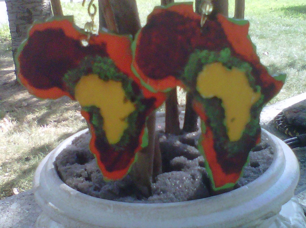 Fiesta- Africa Wood Earrings-Hand Painted-Free Shipping