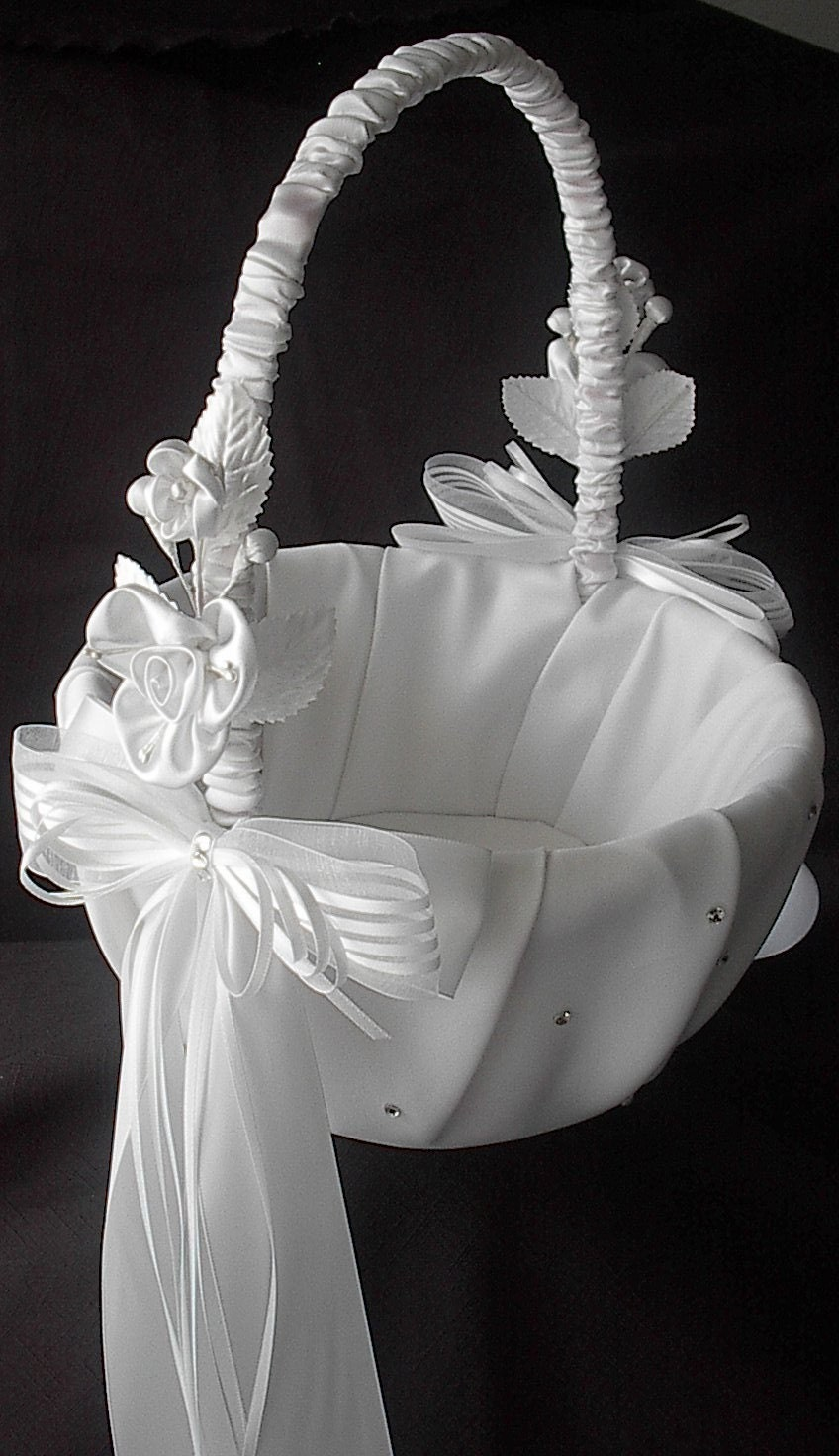 Wedding Flower Girl Basket with Satin Bows, Swarovski Crystals and Satin Flowers, Custom Colors