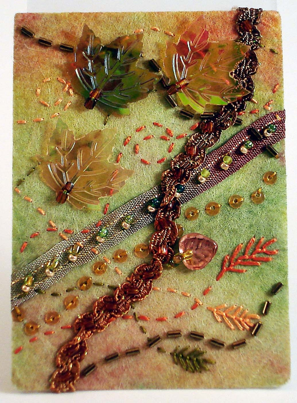 Autumnal breeze fiber art ACEO ATC ooak - franciebelle