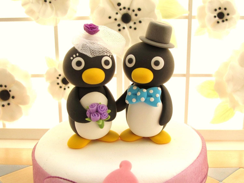 PROMOTION-------LOVE ANGELS Wedding Cake Topper-love Penguins