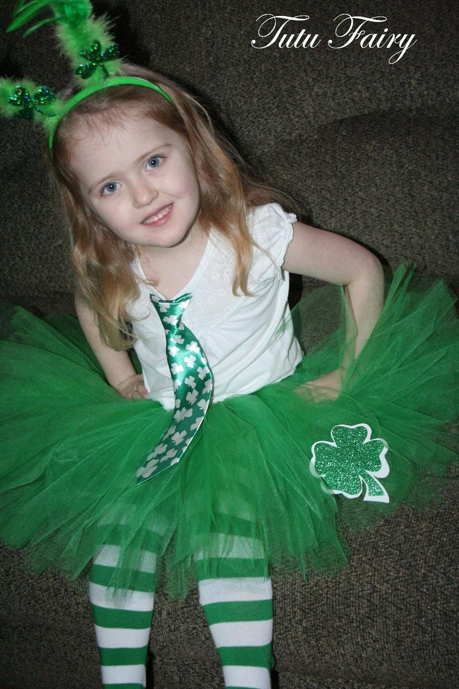 St Patrick's Day Tutu with Four Leaf Clover Cutout.