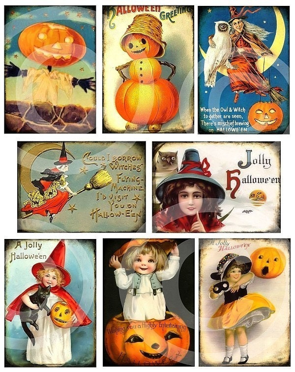 HaLLoWeeN PRINTABLE DESIGNS Digital Collage Sheet download altered art paper