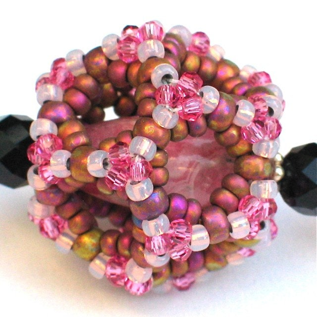 SALE -- Infinity Dodecahedron Beaded Bead Necklace -- Rhodochrosite Pink