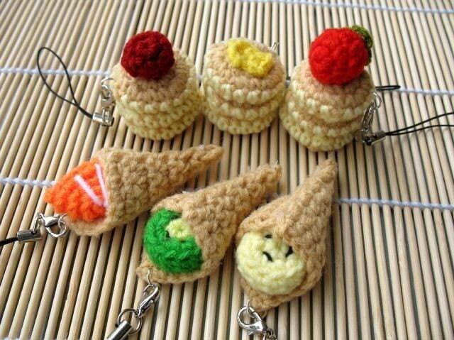MINIATURE Crochet Pattern-PANCAKES / CREPE-Phone Charm