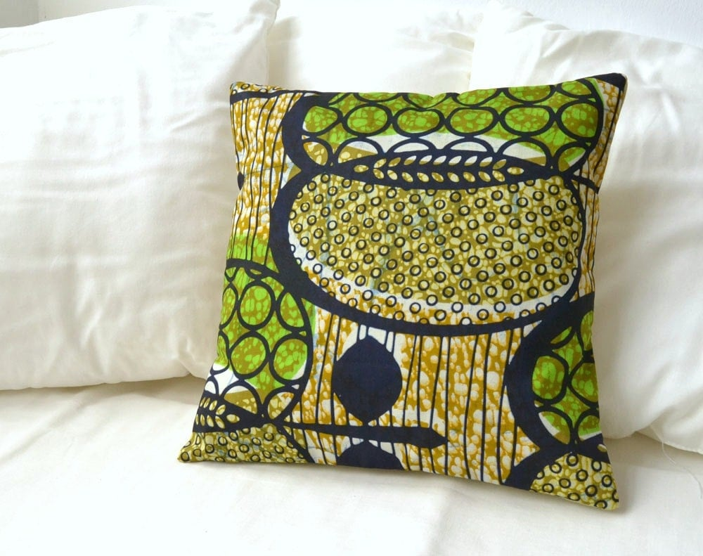 African Print Pillow Cover - Green, black, gold - PALEOLOCHIC