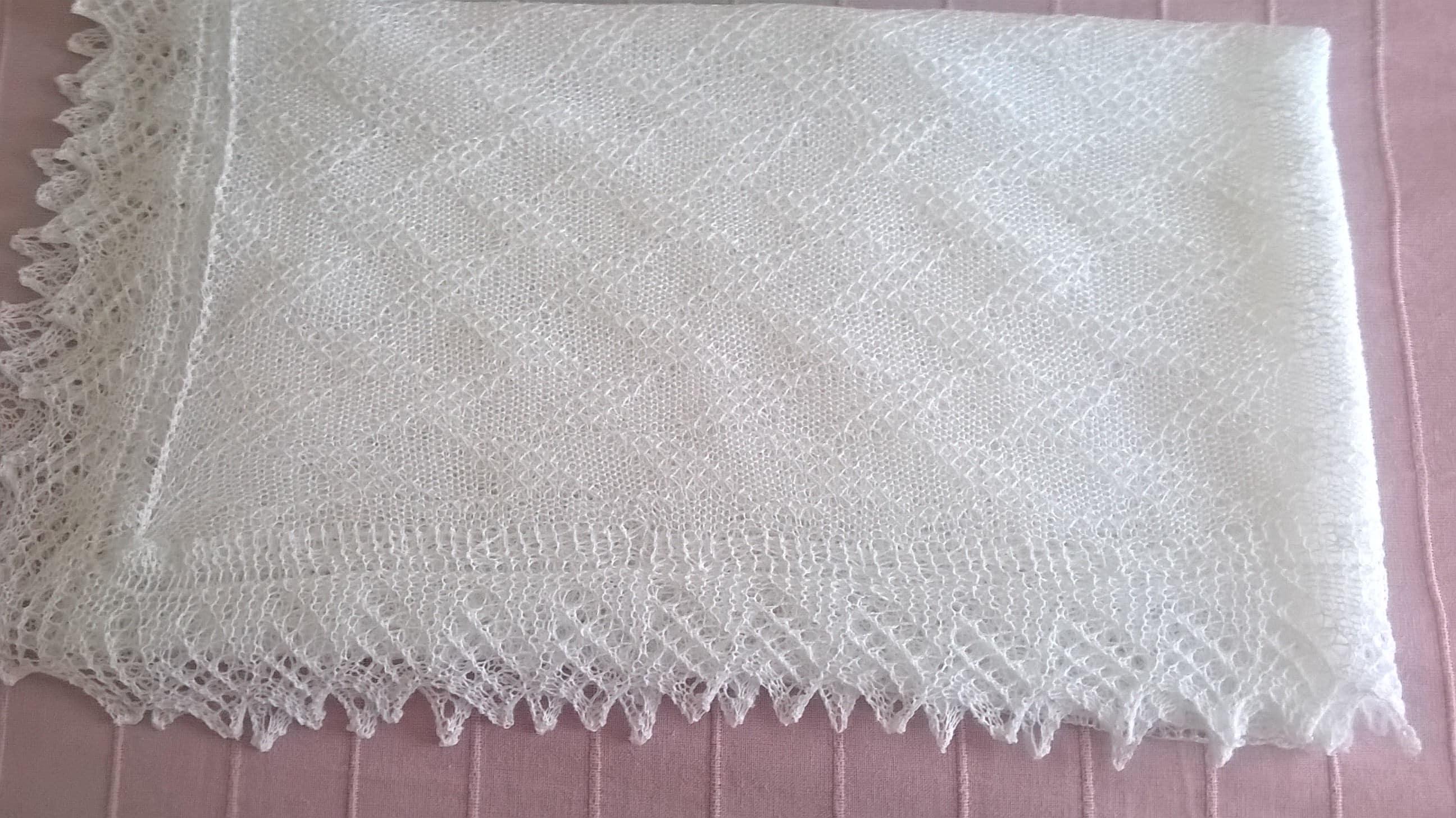 White baby shawl  christening shawl  baby shawl  white shawl square shawl  white lace shawl  receiving blanket