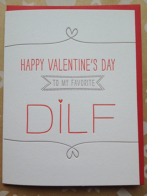 Valentine's Day Card for Husband, Boyfriend, Hot Dad - DILF - Letterpress Valentines Day