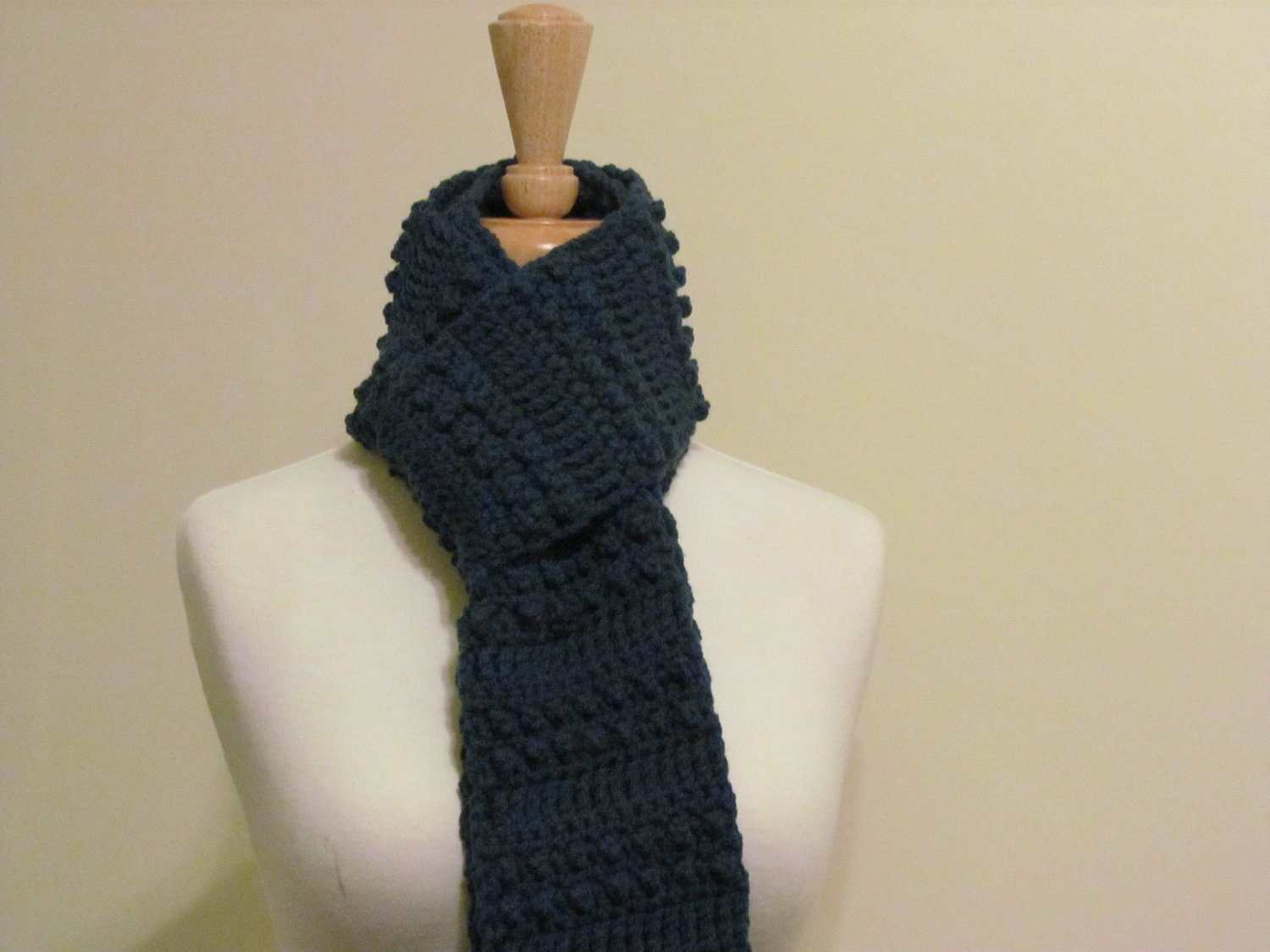 Crochet Mens Scarf : crochet blue scarf 6 x76 crochet long blue heather scarf for Crochet ...