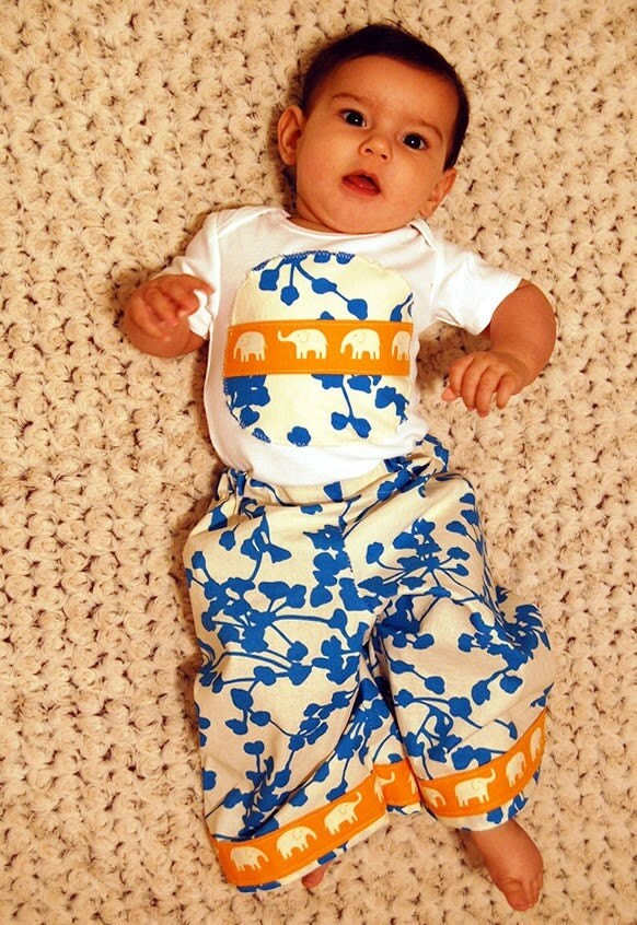 ANKLE BITERS - Mediterranean Blue Vines with Orange Elephants - Baby or Toddler Lounge Pants