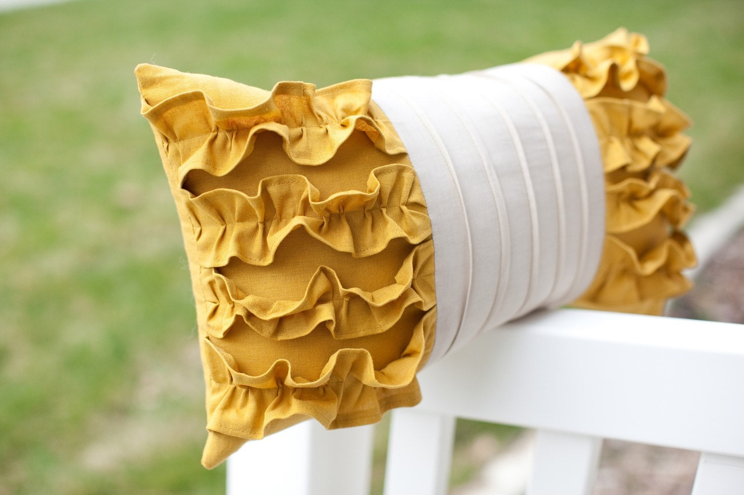 RESERVED for ruffhouseart 3 Side Ruffles Pillows in Mustard Yellow/Light Gray Linen 3 mustard rose pillows on gray cotton