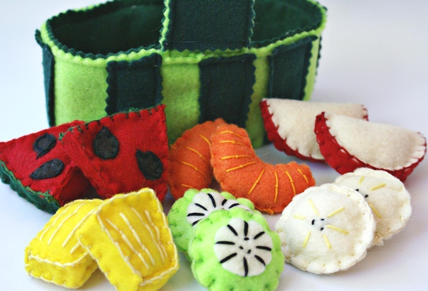 Watermelon Fruit Basket Felt Play Food Apple Orange Kiwi Pineapple Banana