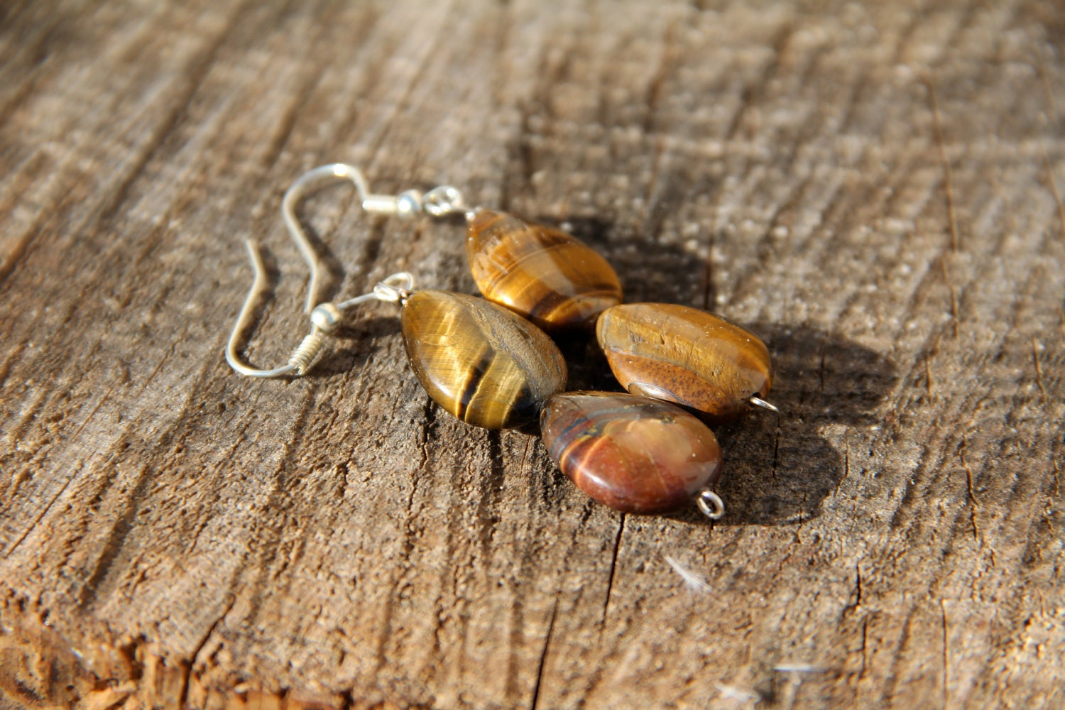 Beautiful Natural Tiger Eye Earrings