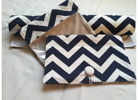 FREE SHIPPING  Baby Gift Set-----Diaper  Clutch and First Aid Bag  and Changing Pad---Chevron---Zig Zag - ALittleBlush