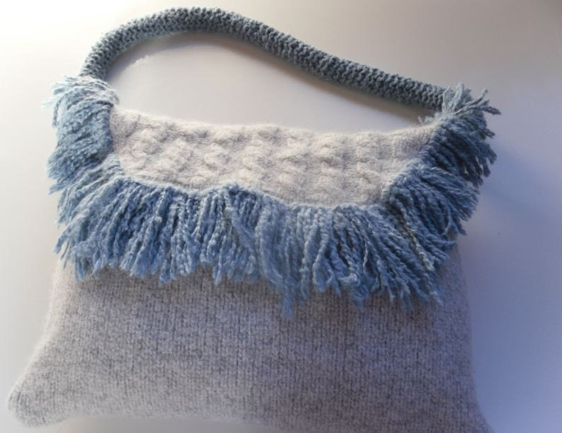 Light blue felted wool fringed shoulder bag. Recyled / Upcycled with Alpaca 100% wool fringed felted shoulder bag