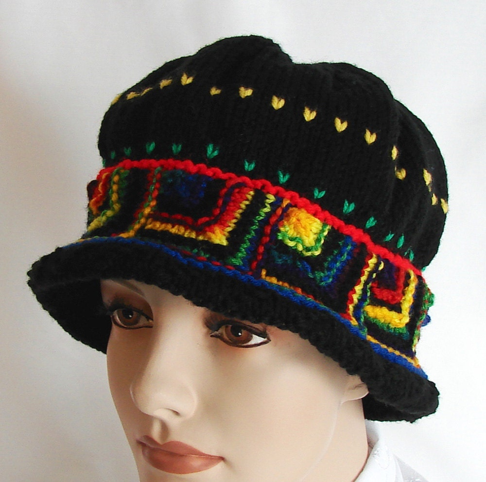 Knit Cloche Hat Black with Bright MultiColored Module by jolay