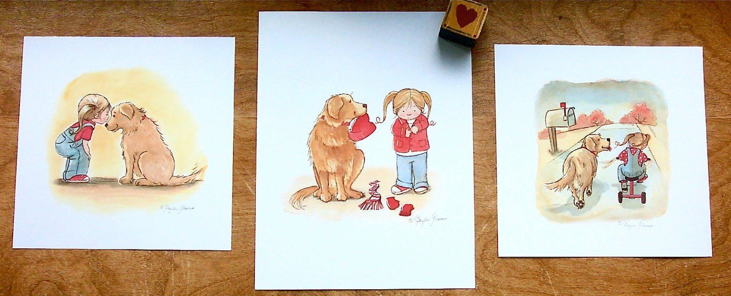 Children's Wall Art Prints - Set of Three Brandy and Emma Prints
