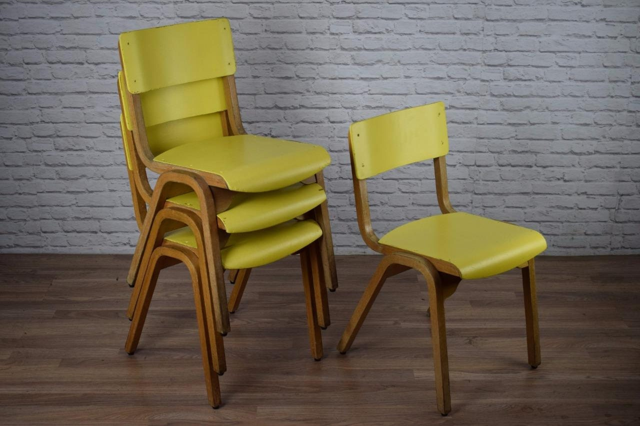 Vintage Industrial Yellow Tecta Stacking School Cafe Bar Kitchen Chairs