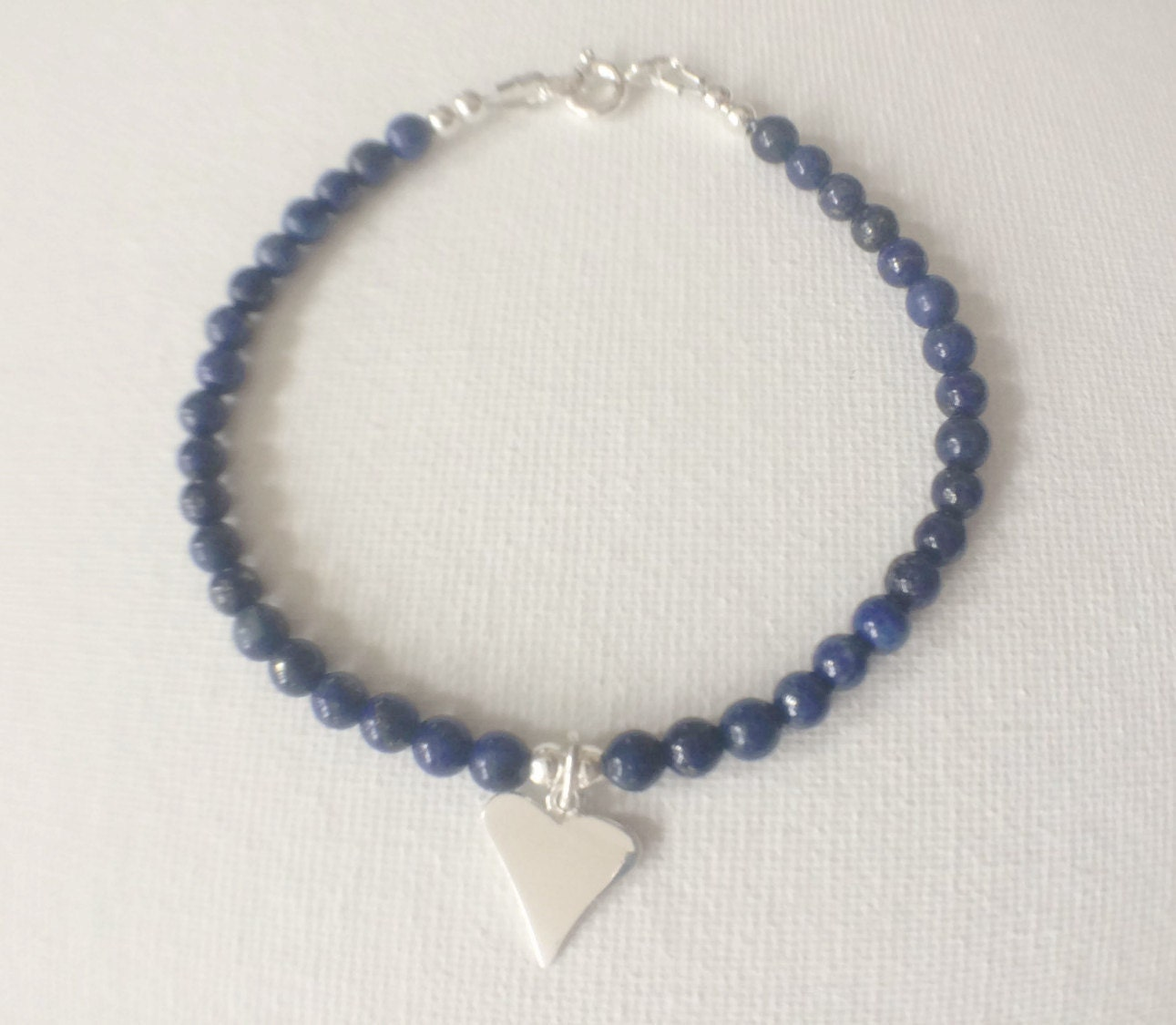 Blue Lapis Lazuli Charm Bracelet Lapis Lazuli  Heart Bracelet Lapis Lazuli Jewellery Personalised Jewellery Blue Gemstone Bracelet Gift