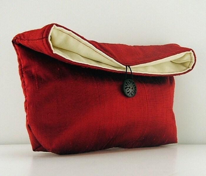 Fold-over Clutch Purse in Deep Red Silk