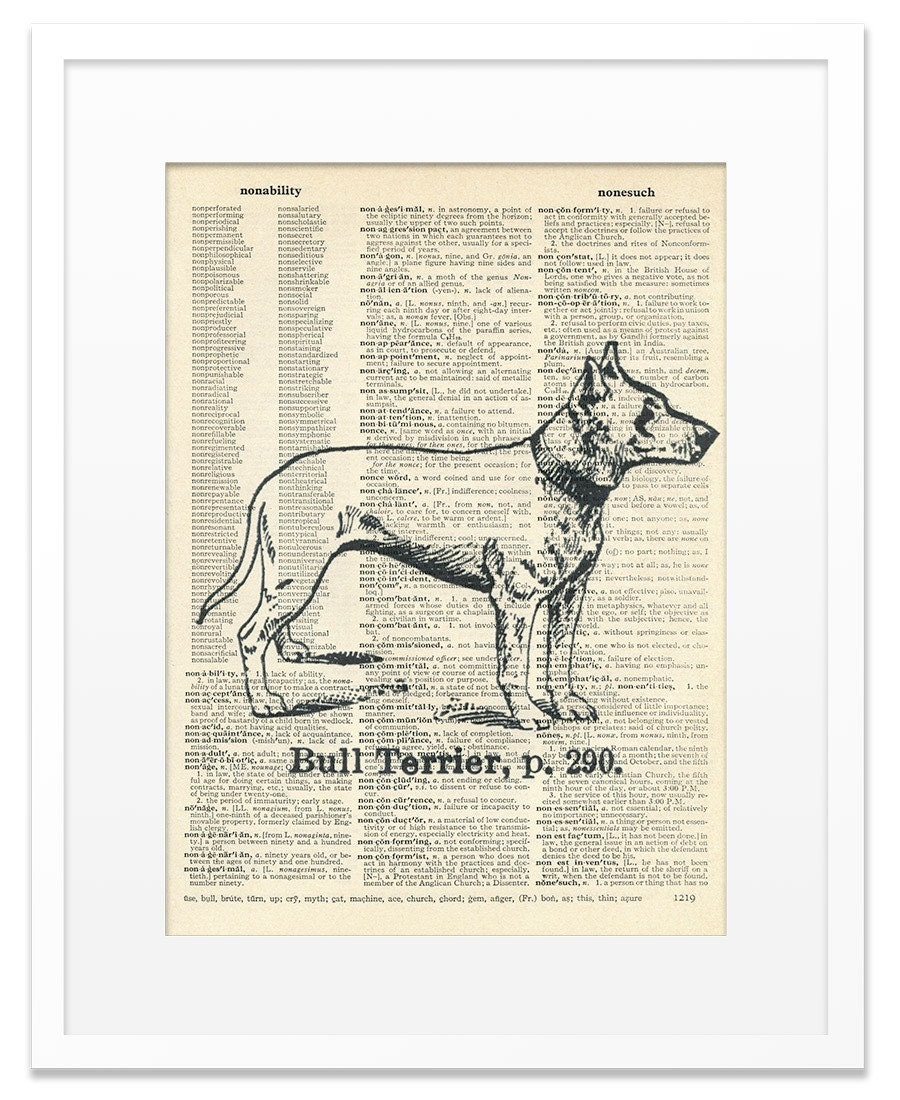 Bull Terrier - Vintage DICTIONARY Art Print - 8x10