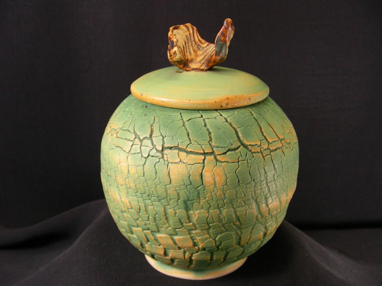 ChingWenArts Studio Pottery Stoneware Lidded Jar Pot, Patina Green Brown White, J5408 - ($52)