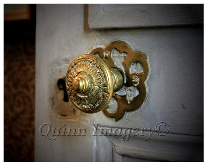 Gold Photograph Doorknob French Door Rustic White Dark Romance Mysterious - QuinnImagery