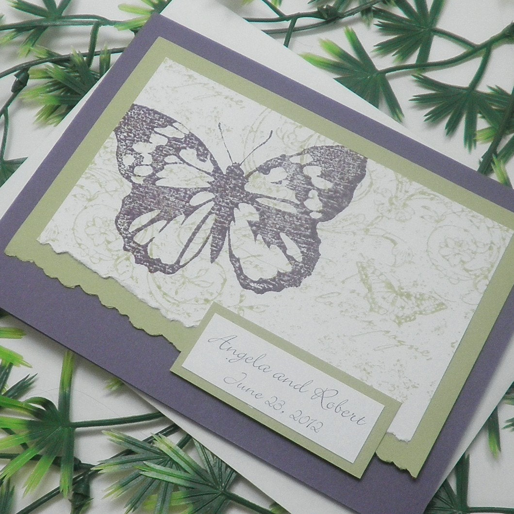 Purple Celery Green Botanical Butterfly Pocketfold Wedding Invitation Pocket Fold