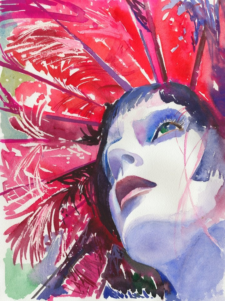 Watercolour Fashion Illustration Print - Red Feathers