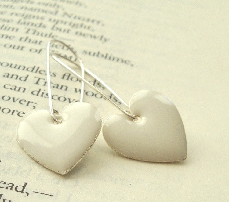White enamel hearts on sterling silver