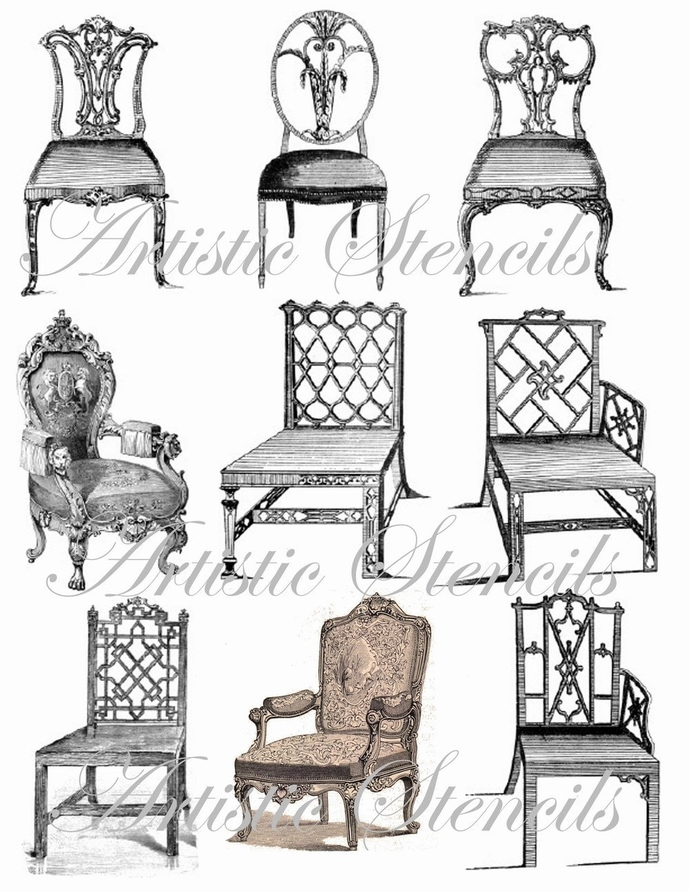 Vintage Antique Chairs Digital Collage Sheet by VintageFeedsacks