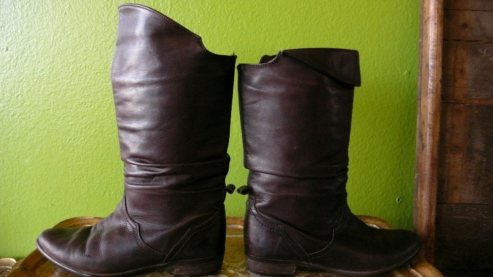 Dark Chocolate Brown Convertible 80s Boots - 8 - 8.5 - FREE US SHIPPING