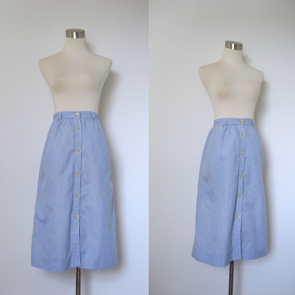 seersucker skirt 1980s blue and white by lapoubellevintage