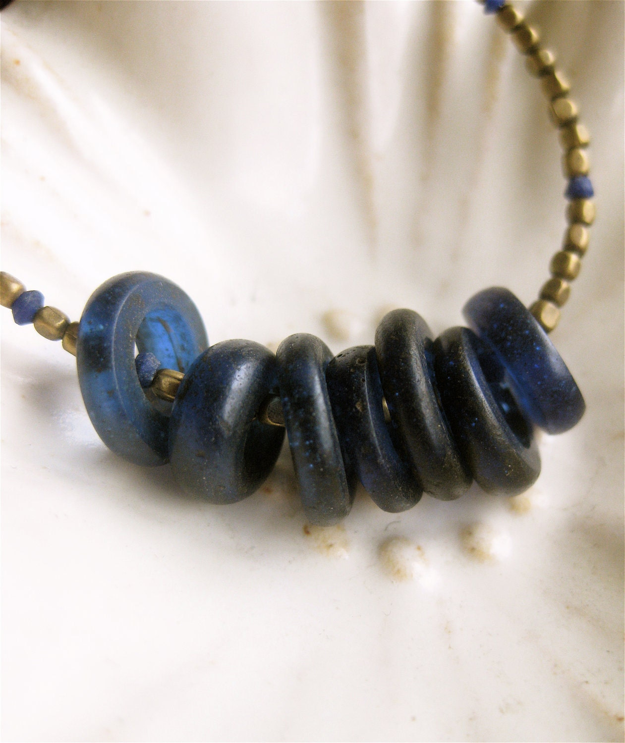 Tiny Tribal Brass Strand with Lapis and African Trade Cobalt Blue Glass