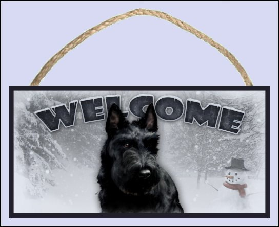 "Scottish Terrier Winter Season 10"" x 5"" Wooden Welcome Sign"