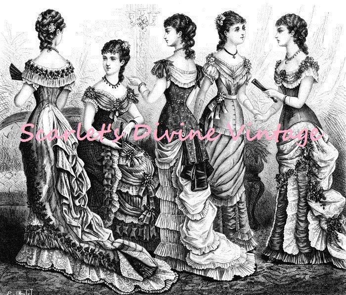 Digital Image of 19th Century Ball Gown Ladies
