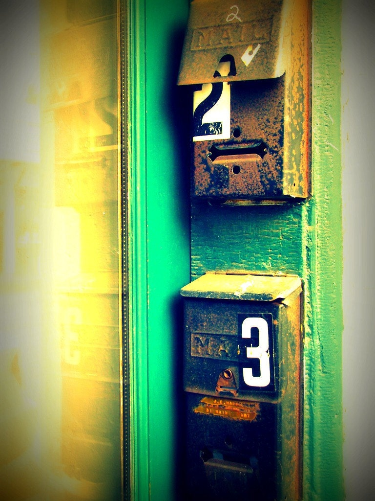 IN STOCK - Mailboxes Photograph - vintage mail numbers address teal black yellow white art print home decor