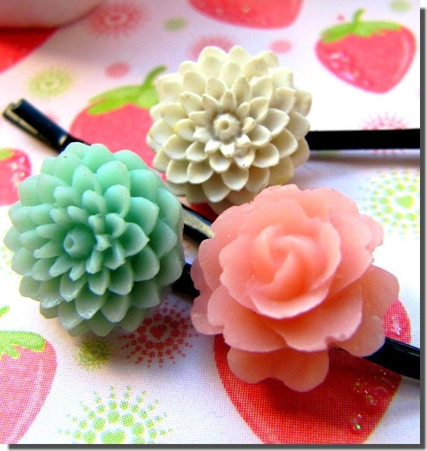 Pastel colour Flowers Hair Pins - by Eliseshop - UK seller