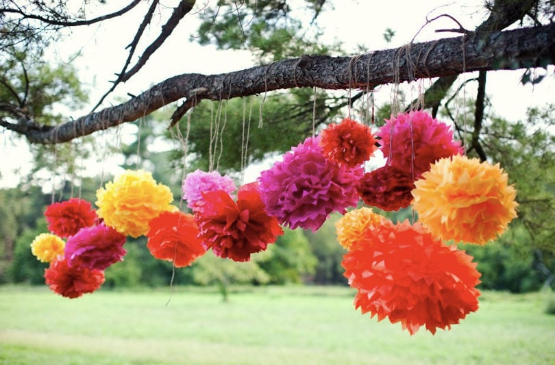 Katey Collection- 5 Pom Poms- Mexican fiesta hanging decorations/ wedding decorations/ birthday party decorations