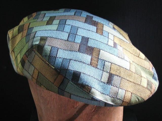 Handmade Stylish Jeff Cap for Men Women Children -- Driving Cap -- Ivy Cap -- Rectangles - Blue Gold