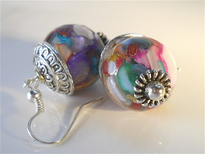 HUGE SALE-15% off Today Round Rainbow Mother of Pearl Earrings with Bali Silver Accents