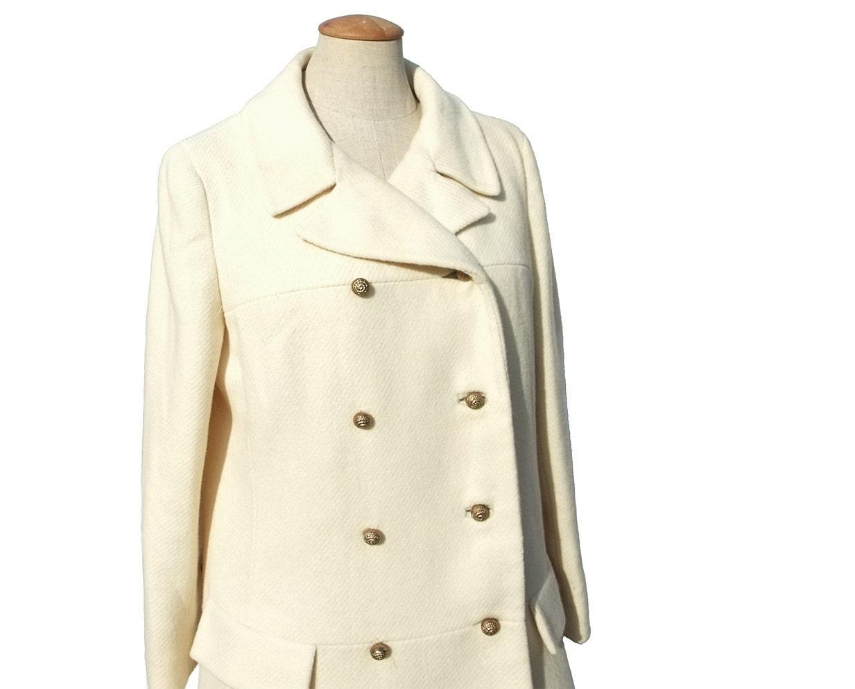 60s Vintage Wool Coat Ivory Winter White Double Breasted Medium Large - mysweetiepiepie