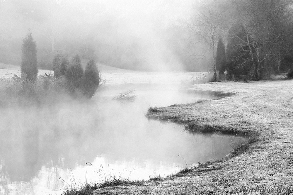 black and white landscape photography / winter /  fog /  grey /  November Frost 12 x 8 print - NicholasBellPhoto