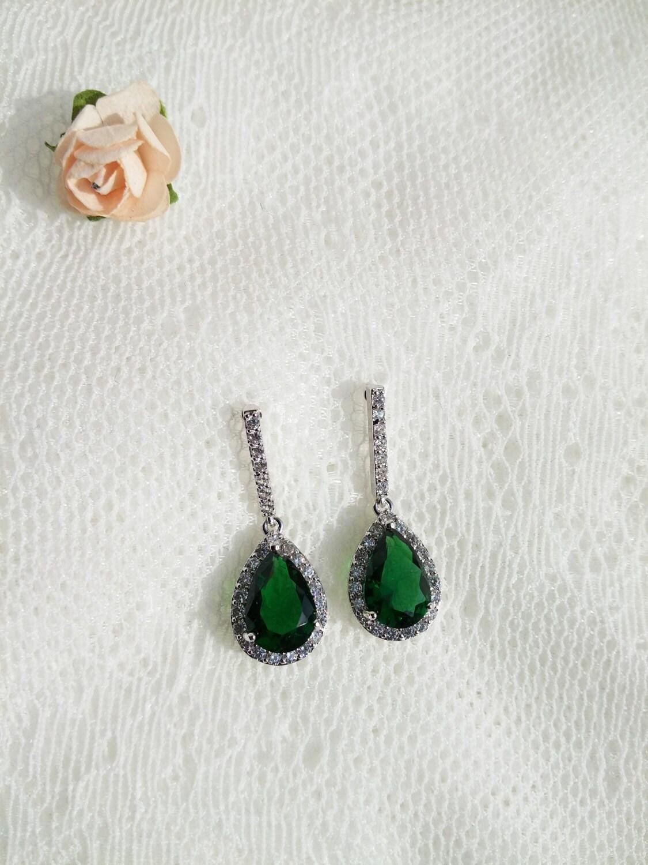 Emerald earrings CZ bridal earrings Bride green Earrings wedding jewelry emerald earrings bridal jewellery CZ earrings emerald green